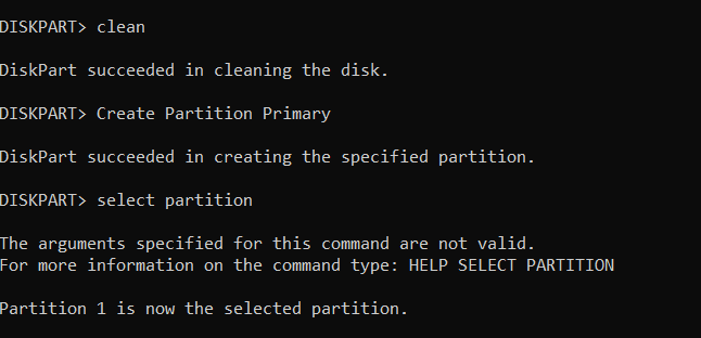 clean, select and create partition, format Pendrive